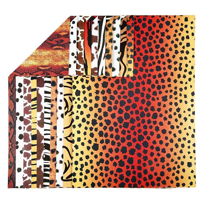 Papier imprimé Animaux A4 21 x 29,7 cm 300 g/m² 10 feuilles