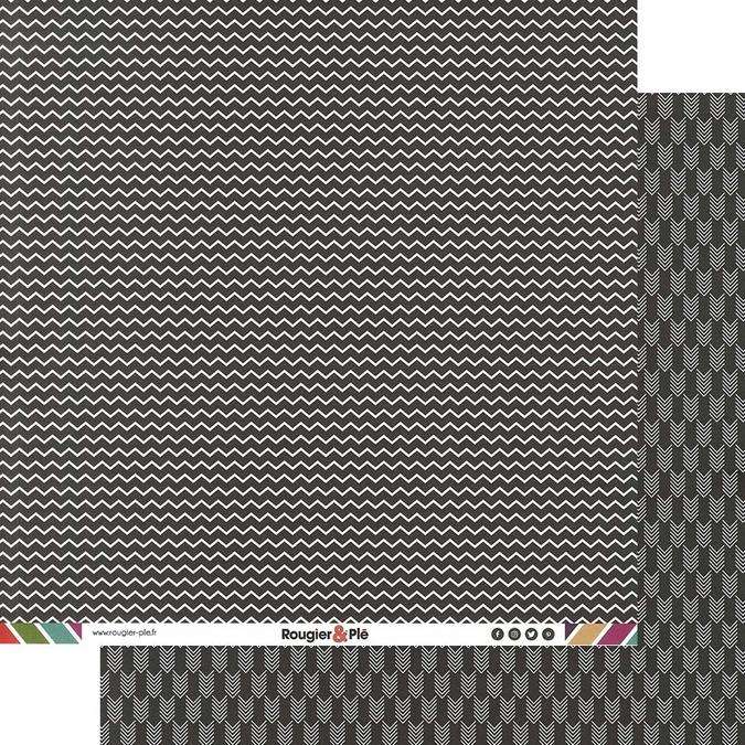 Papier scrapbooking 30,5 x 30,5 cm Noir / Chevrons