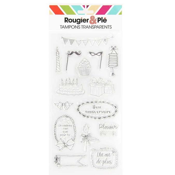 Tampons transparents thème Bon Anniversaire 15 pcs