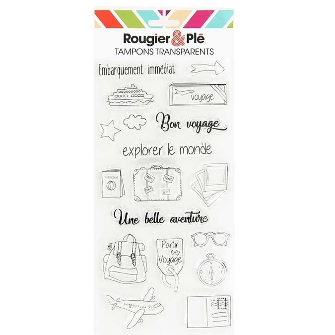 Tampons transparents thème Bon voyage 18 pcs