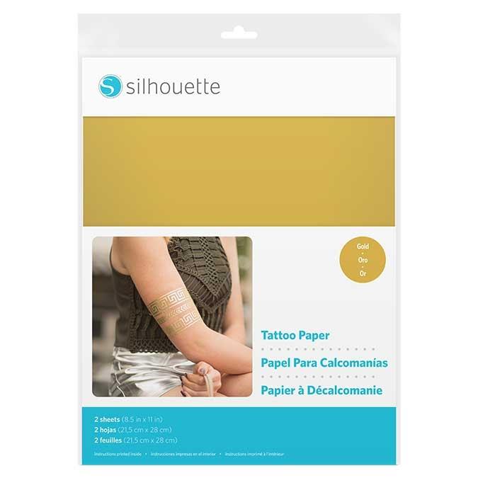 Papier pour tatouage éphémère Or 21.6 x 28 cm 2 pcs