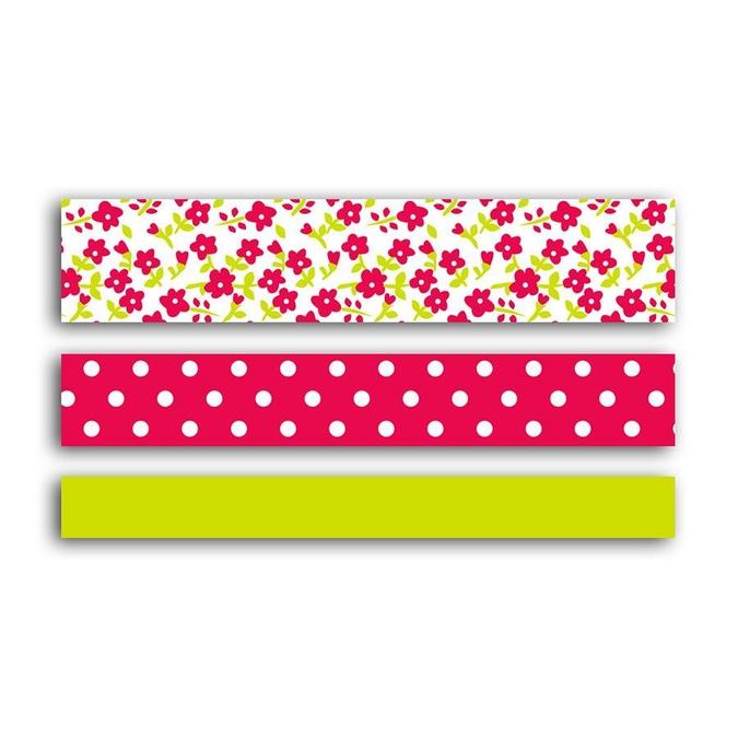 Ruban adhésif décoratif Fleurs - Chevrons - Uni Rose & vert 5 m 3 pcs
