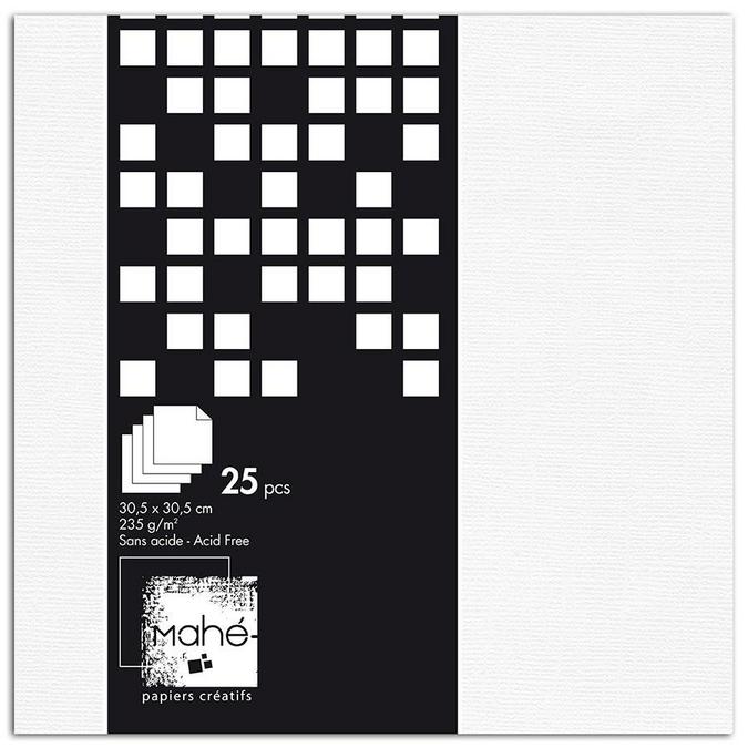 Papier Blanc 25 feuilles 30,5 x 30,5 cm