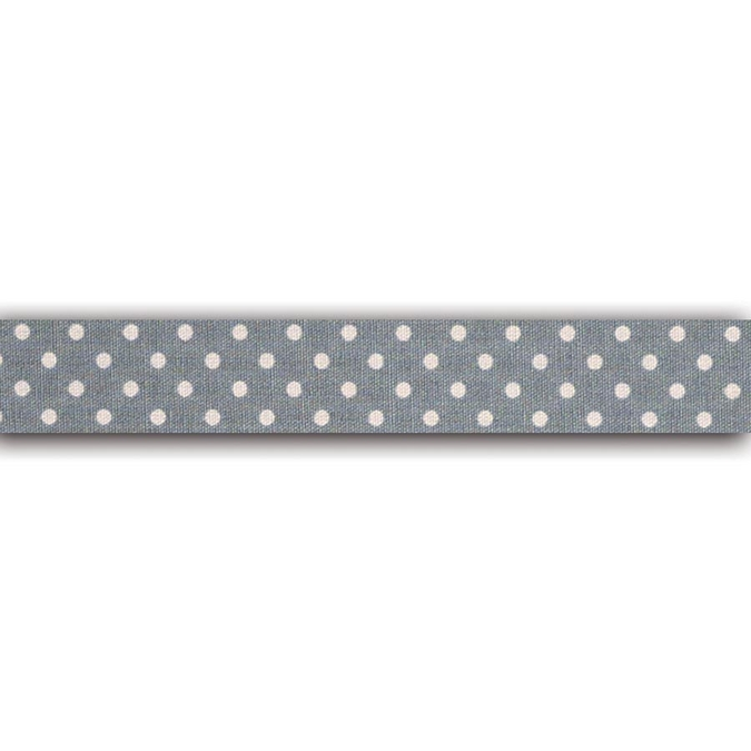 Rouleau de tissu adhésif en coton Gris pois blanc 1,5 x 5 m