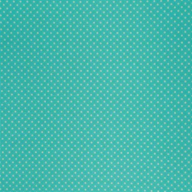Coupon de toile enduite Dailylike Turquoise pois blanc 45 x 53 cm