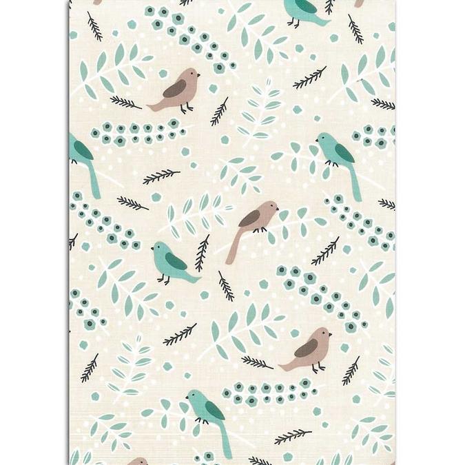 Tissu adhésif en coton Oiseaux 30 x 21,5 cm