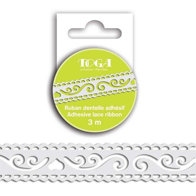 Ruban adhésif décoratif Dentelle blanc 1,8 cm x 3 m