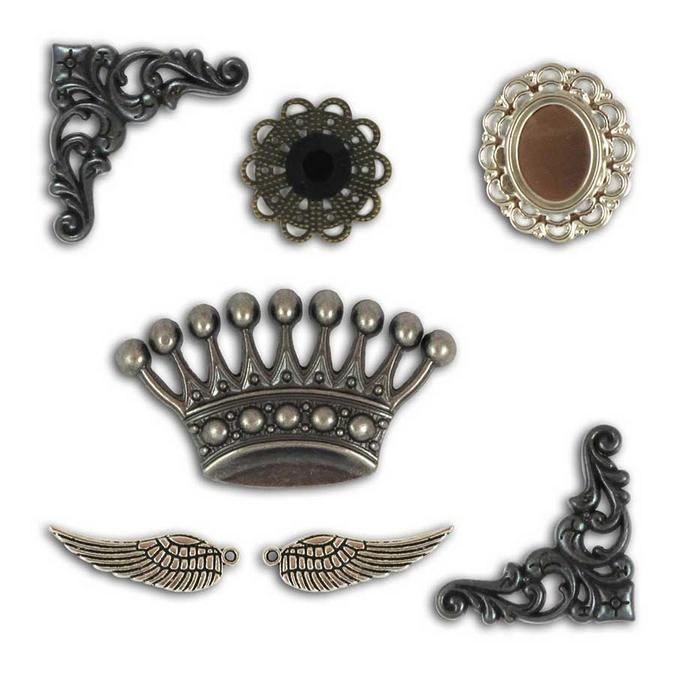Décorations en métal Set Vintage 7 pcs