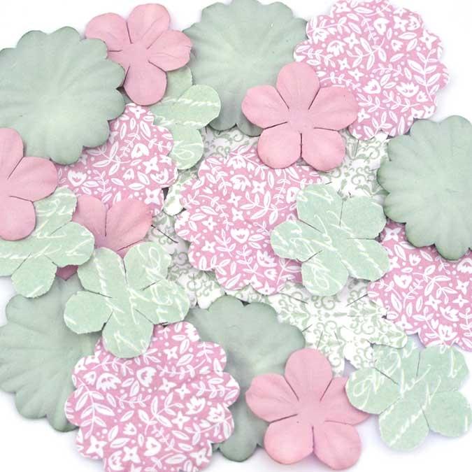 Fleur en papier Shabby Love 25 pcs
