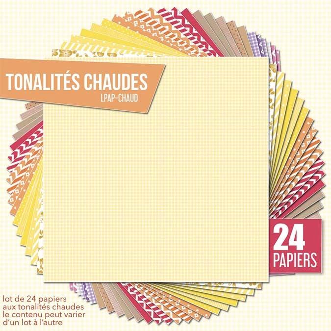 Papier scrapbooking Assortiment 24 feuilles Tonalités chaudes