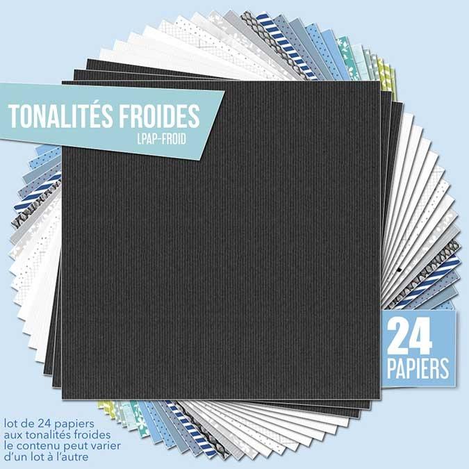 Papier scrapbooking Assortiment 24 feuilles Tonalités froides