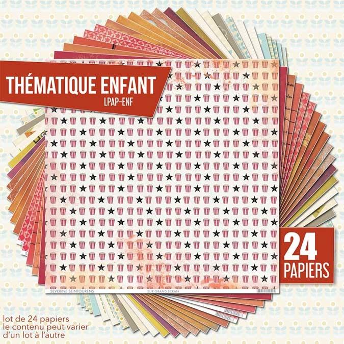 Papier scrapbooking Assortiment 24 feuilles Thème enfance