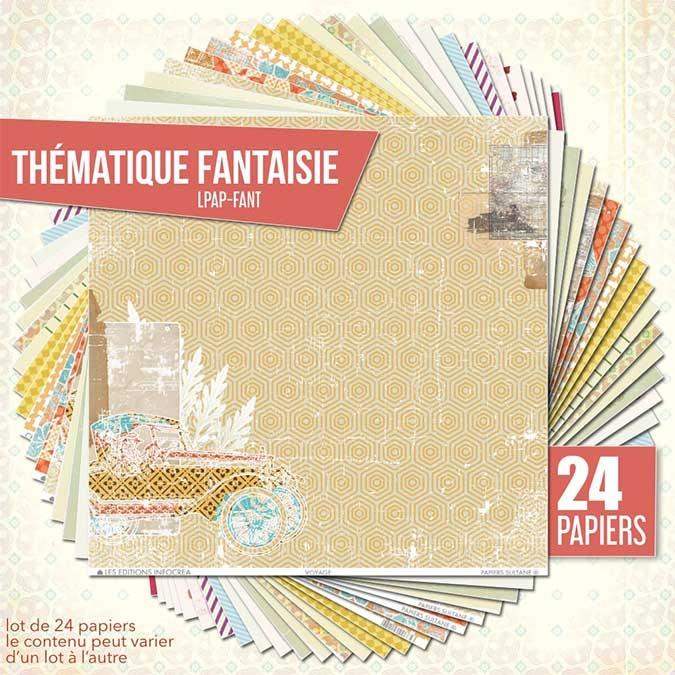 Papier scrapbooking Assortiment 24 feuilles Thème fantaisie