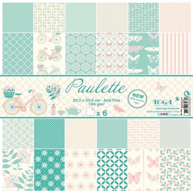 Papier Paulette 6 feuilles 30,5 x 30,5 cm