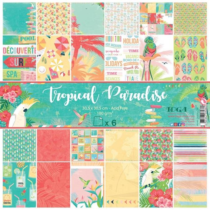 Papier Tropical Paradise 6 feuilles 30,5 x 30,5 cm
