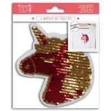 Écusson thermocollant Licorne réversible en sequins 13 cm