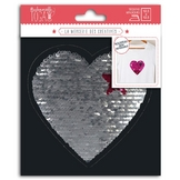 Écusson thermocollant Coeur réversible en sequins 13 cm