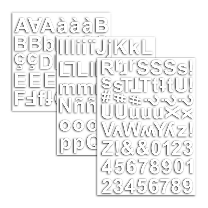 Autocollant cartonné chipboard Alphabet blanc x 165