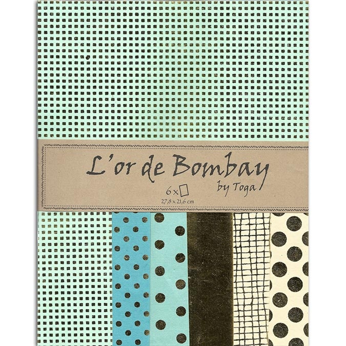 Papier L'or de Bombay Vert Or 27,8 x 21,2 cm 6 feuilles
