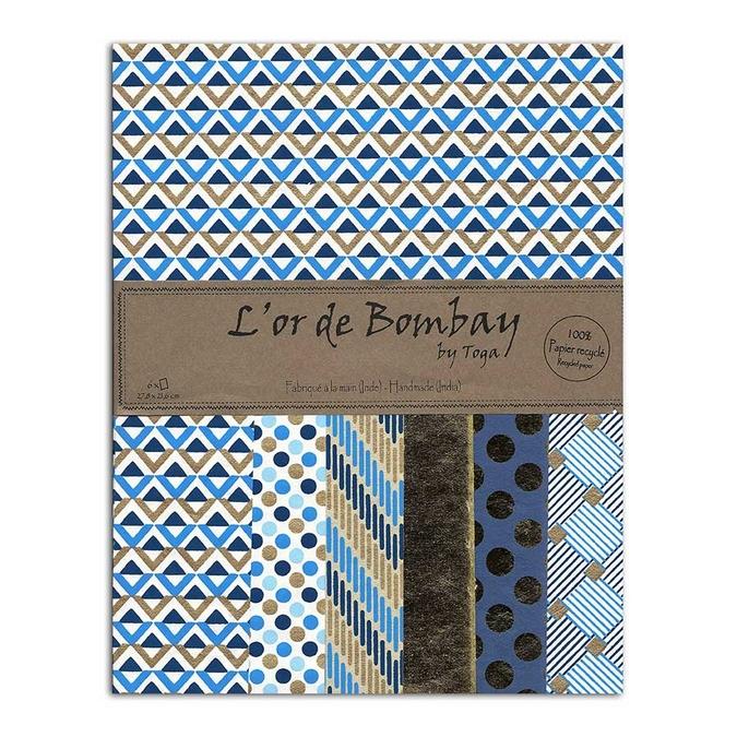 Papier L'or de Bombay Bleu Or 27,8 x 21,2 cm 6 feuilles