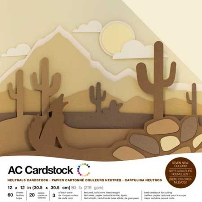 Papier Cardstock pack Couleurs neutres 60 feuilles 30,5 x 30,5 cm