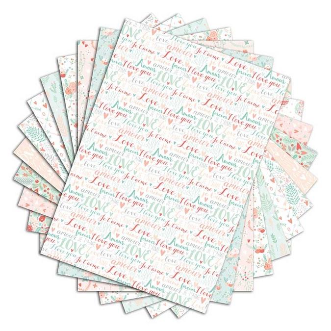 Bloc de papier imprimé Color Factory A4 Cœurs et feuillage 48 feuilles