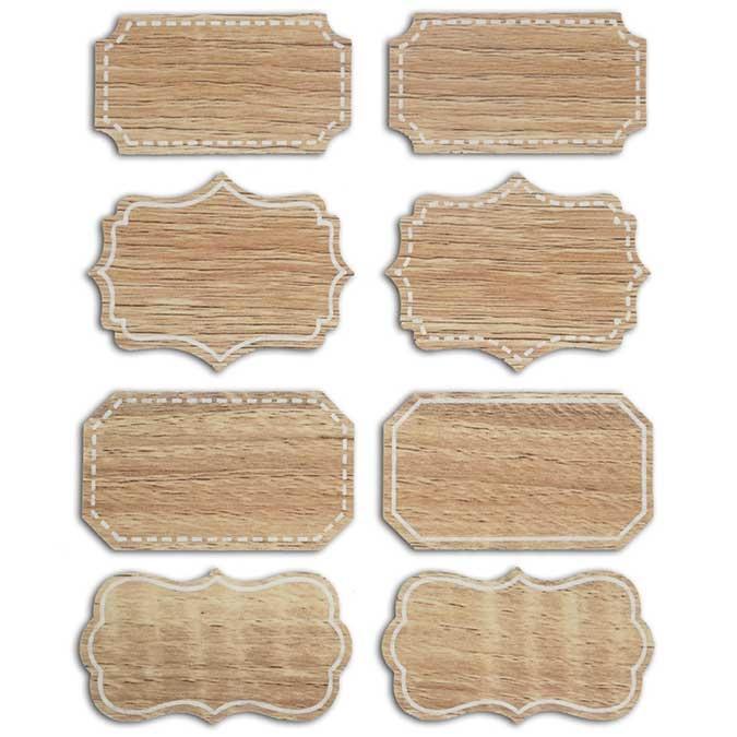 Étiquette adhésive Baroque bois 8 pcs