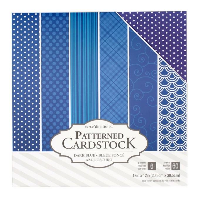 Papier à motifs Core'dinations Bleu foncé 60 feuilles 30,5 x 30,5 cm