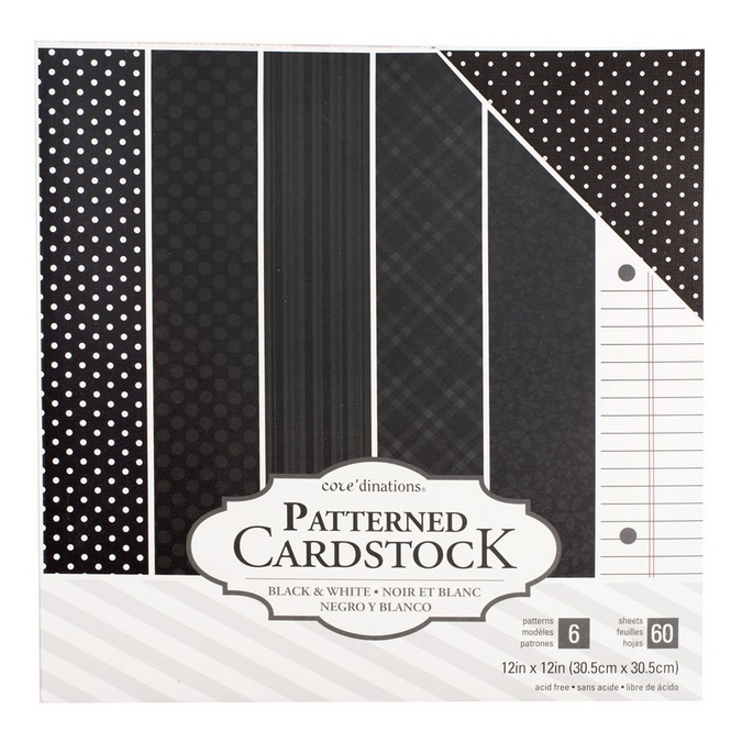 Papier à motifs Core'dinations Noir 60 feuilles 30,5 x 30,5 cm