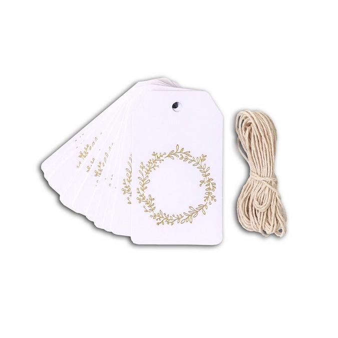 Étiquette Tags Blanc feuillage doré mat + ficelle 4,5 x 8 cm 20 pcs
