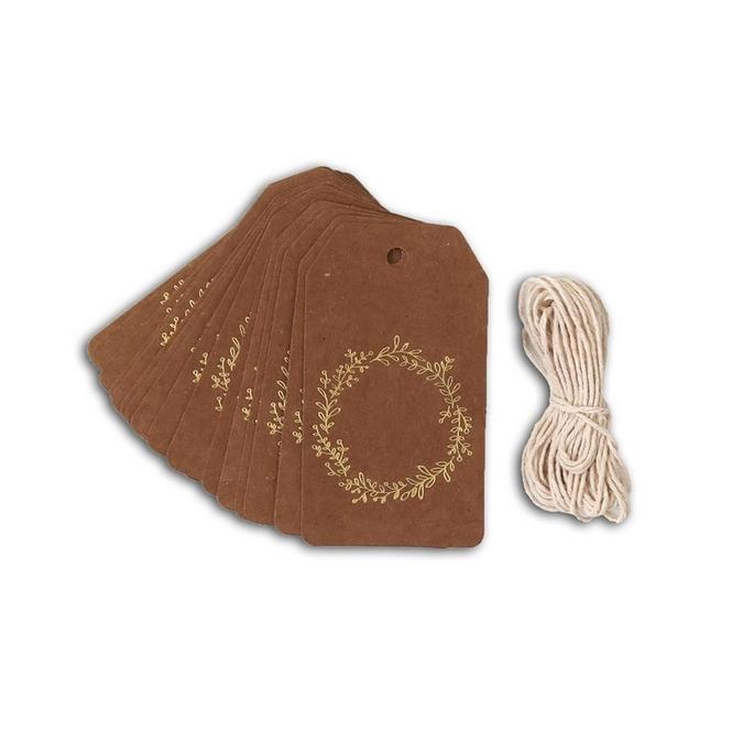 Étiquette Tags Kraft feuillage doré mat + ficelle 4,5 x 8 cm 20 pcs