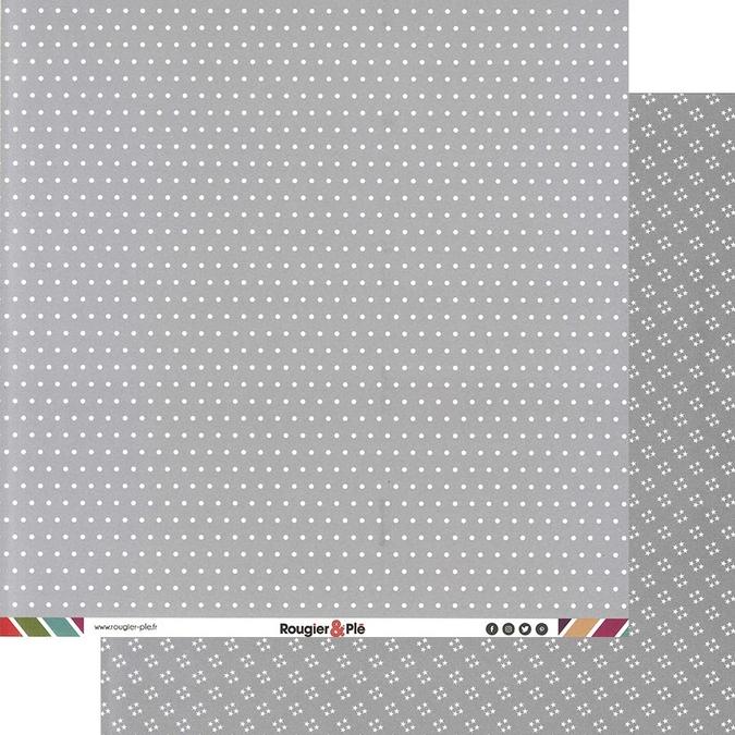 Papier scrapbooking 30,5 x 30,5 cm Gris / Pois & Étoiles