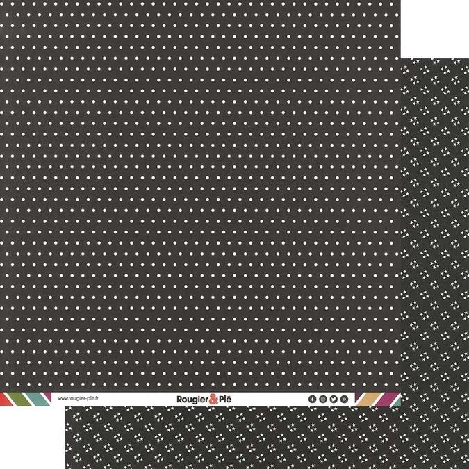 Papier scrapbooking 30,5 x 30,5 cm Noir / Pois & Étoiles