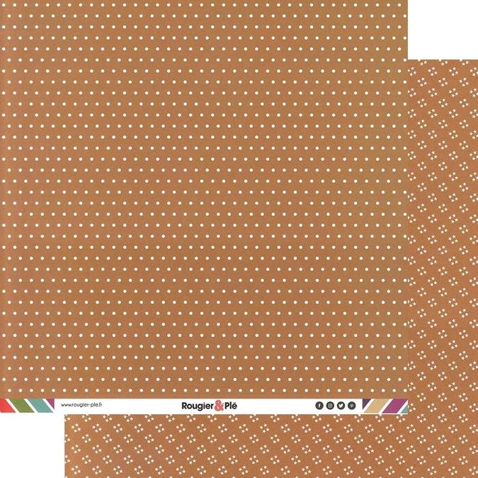 Papier scrapbooking 30,5 x 30,5 cm Chocolat / Pois & Étoiles