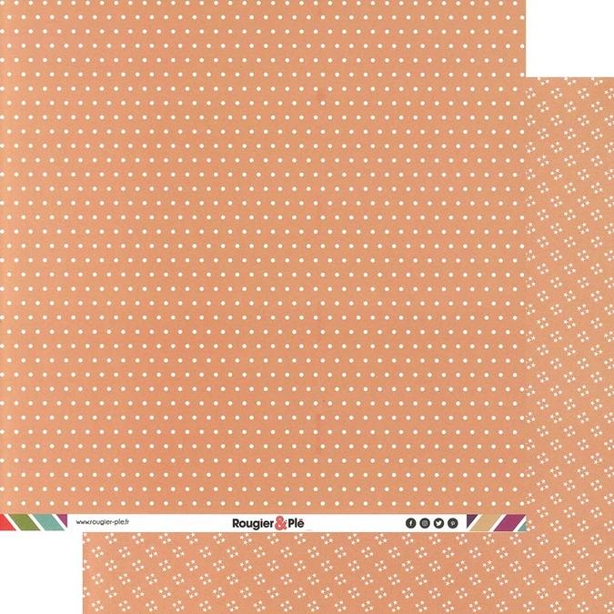 Papier scrapbooking 30,5 x 30,5 cm Havane / Pois & Étoiles