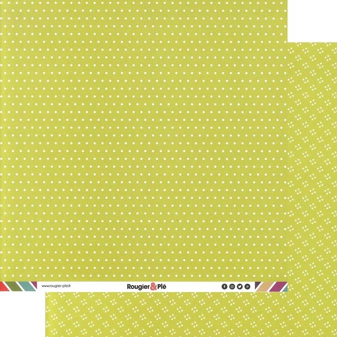 Papier scrapbooking 30,5 x 30,5 cm Bambou / Pois & Étoiles