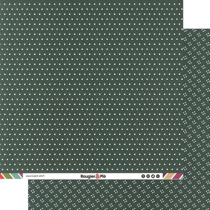 Papier scrapbooking 30,5 x 30,5 cm Sapin / Pois & Étoiles