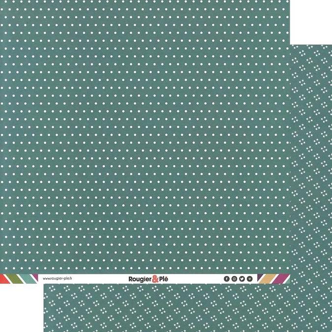 Papier scrapbooking 30,5 x 30,5 cm Turquoise / Pois & Étoiles