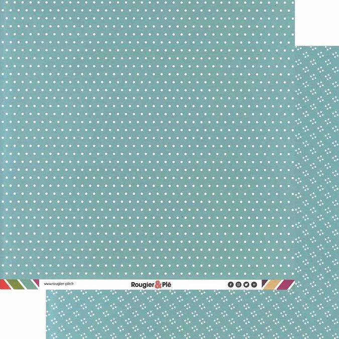 Papier scrapbooking 30,5 x 30,5 cm Lagon / Pois & Étoiles