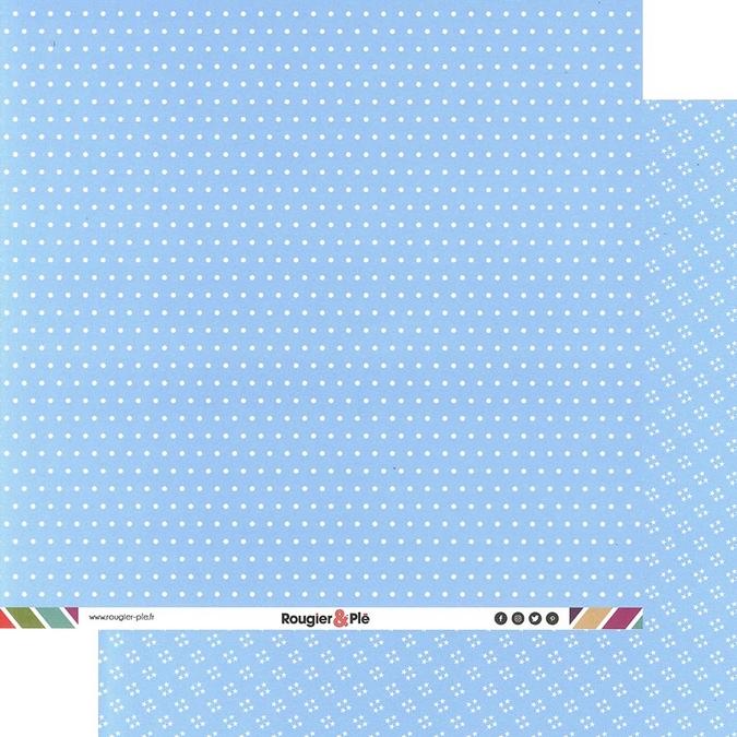 Papier scrapbooking 30,5 x 30,5 cm Bleu Clair / Pois & Étoiles