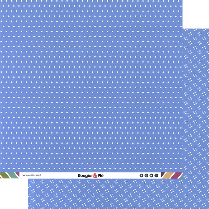 Papier scrapbooking 30,5 x 30,5 cm Bleu / Pois & Étoiles