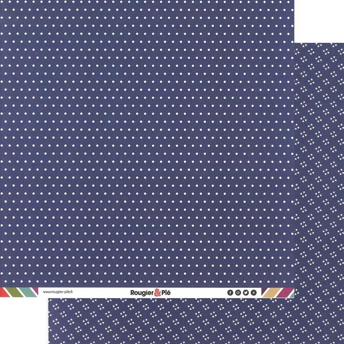 Papier scrapbooking 30,5 x 30,5 cm Bleu Marine / Pois & Étoiles