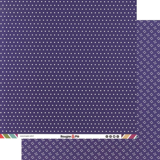 Papier scrapbooking 30,5 x 30,5 cm Prune / Pois & Étoiles