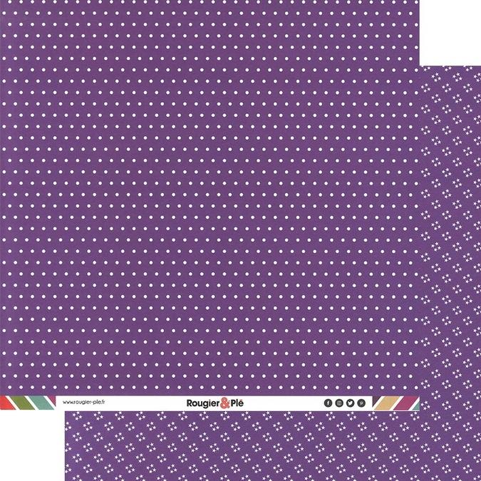 Papier scrapbooking 30,5 x 30,5 cm Violet / Pois & Étoiles