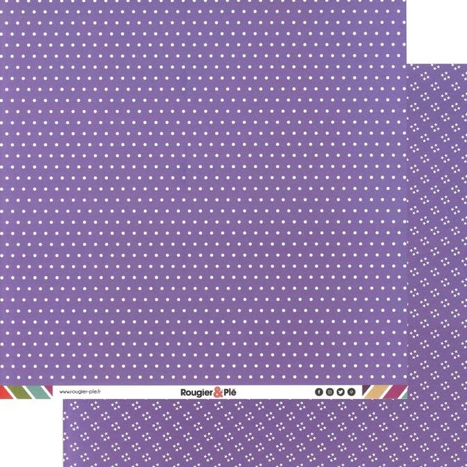 Papier scrapbooking 30,5 x 30,5 cm Mauve / Pois & Étoiles