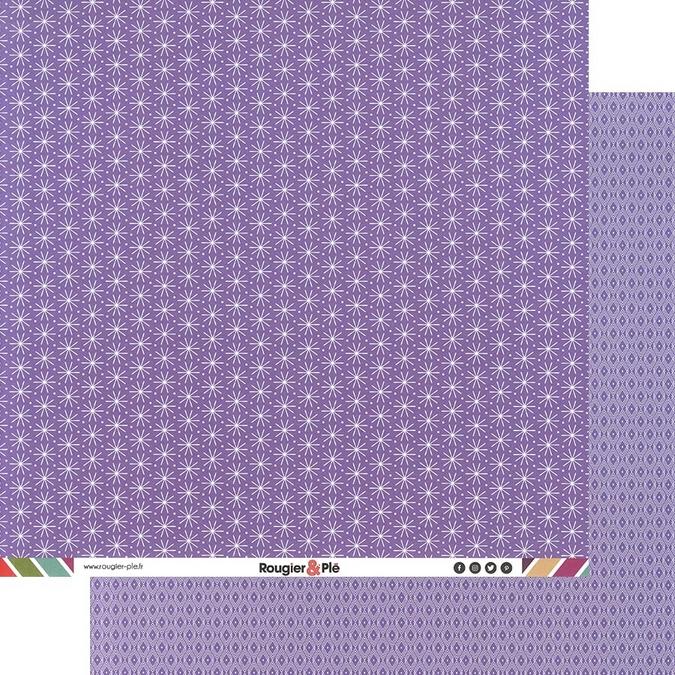 Papier scrapbooking 30,5 x 30,5 cm Mauve / Géométrique