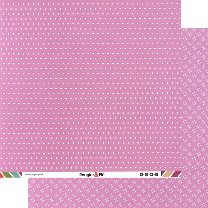 Papier scrapbooking 30,5 x 30,5 cm Rose / Pois & Étoiles