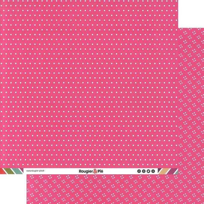 Papier scrapbooking 30,5 x 30,5 cm Fuchsia / Pois & Étoiles