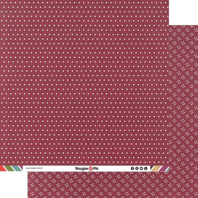 Papier scrapbooking 30,5 x 30,5 cm Framboise / Pois & Étoiles