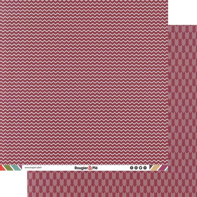 Papier scrapbooking 30,5 x 30,5 cm Framboise / Chevrons